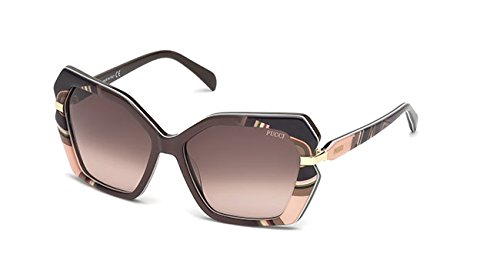 Emilio pucci ep0063 50f 58, occhiali da sole unisex adulto, marrone scuro