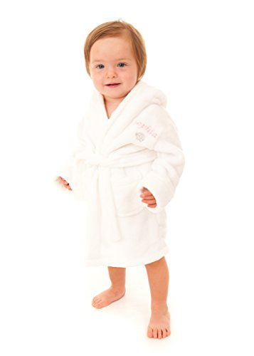 69771804d Embroidered Personalised Soft Baby White Dressing Gown Bath Robe ...