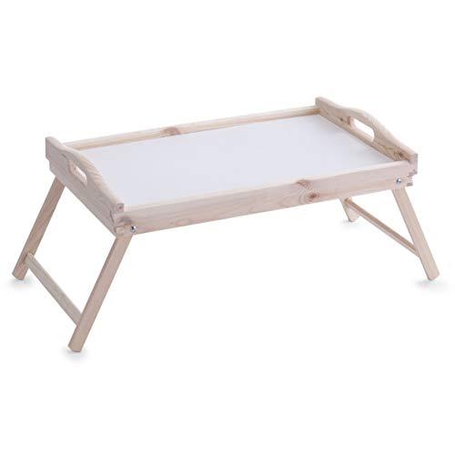 Vassoio da letto bianco in legno di pino 51x32x25cm