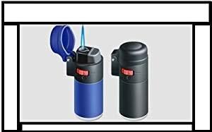 Zenga Windfestes elektronisches Benzin-Feuerzeug, feststellbare Flamme, nachfüllbar, Sturm-Feuerzeug, transparent, Schwarz oder Blau blau