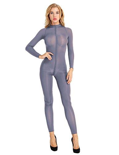 iiniim Damen Overall Catsuit Transparent Einteiler Bodysuit Ganzkörperanzug Party Clubwear Grau L
