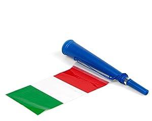 Atosa-24378 Atosa-24378-Corneta con Bandera Italia 36X6 cm-Mundial De Fútbol Y Deportes, Color Verde, Blanco y Rojo (24378