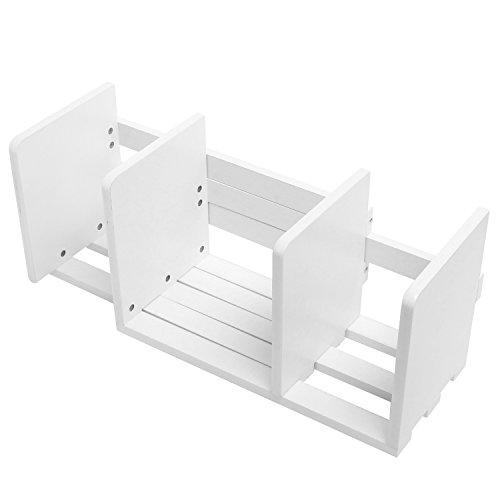 Erweiterbar Holz Desktop Bücherregal/verstellbar Lagerung Organizer Display Regal Rack, weiß -