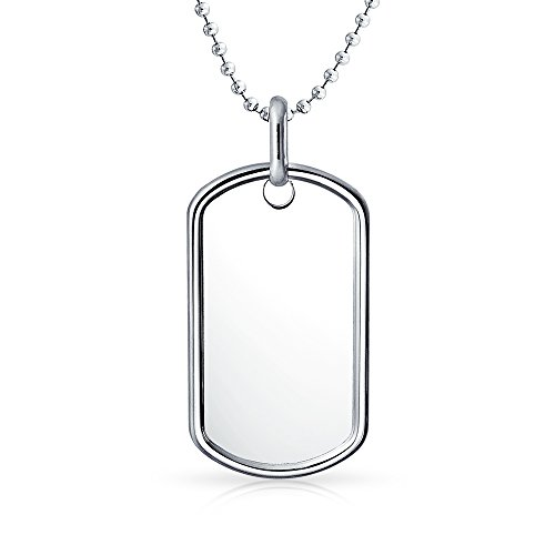 Bling Jewelry Piano 1.5in Classic Sterling Silver Dog Tag Pendant