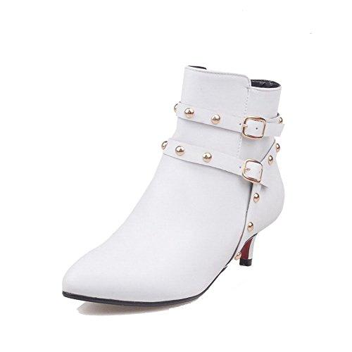 AllhqFashion Damen Rein Mittler Absatz Spitz Zehe Reißverschluss Stiefel mit Rivet Set Weiß
