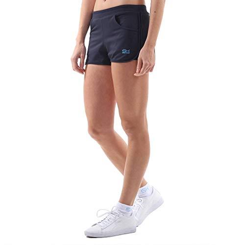 Tennis-damen Shorts (Sportkind Mädchen & Damen Tennis, Volleyball, Sport 2-in-1 Shorts mit Innenhose, Navy blau, Gr. M)