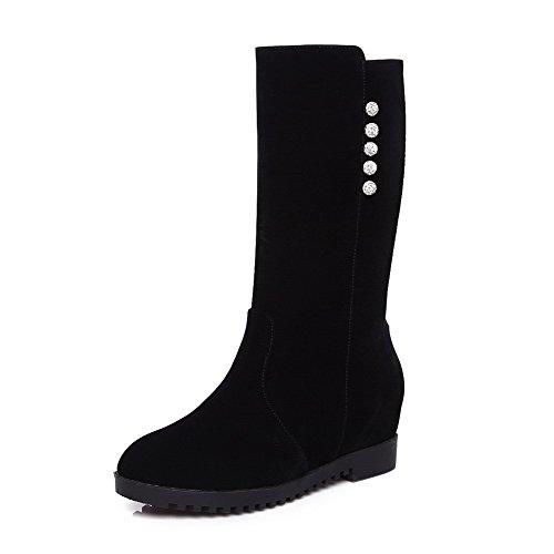 AllhqFashion Damen Mitte-Spitze Eingelegt Ziehen auf Stiefel mit Beschlagene Strass, Schwarz, 35