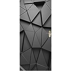 HHJJ Stickers de Porte Trompe l'oeil 3D Photo Design Moderne Auto adhésif Amovible ImperméAble PVC Autocollants de Porte muraux Reconditionné Art Decor Affiche,Black3DGeometry