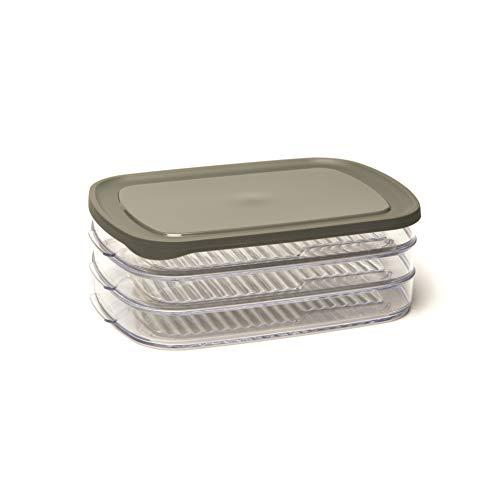 Frischhaltedose / Stapelbox mit 3 Abteilungen, für Aufschnitt, rechteckig, 23 x 16 x 8 cm