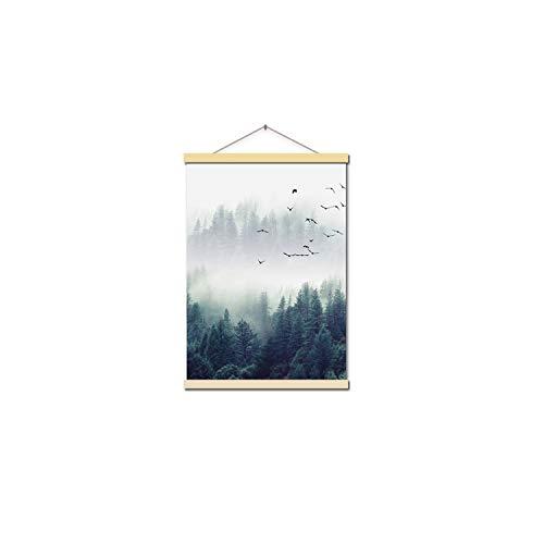 Medium Bild Hängen (l Star-Wall Art Nordic Dekoration Wald Landschaftswand-Kunst-Leinwand und Druck Leinwand Gemälde Dekorative Bild für Wohnzimmer, 13x18cm keinen Rahmen, Hang Welle 2)