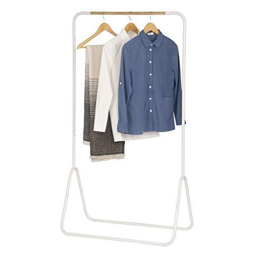 WOLTU Kleiderständer Garderobenständer Kleiderstange Metall, Weiss, ca. 79x43x145cm(BxTxH) SR0076ws