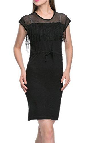 EOZY Robe Mini Gland Frange Dentelle Femme Sans Manche taille:Moulant Fente Col Rond 1 noir