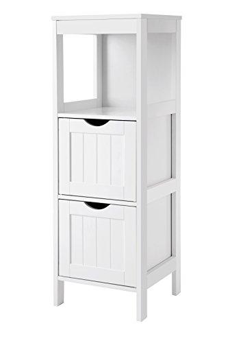 VASAGLE Badkommode, Badschrank, vielseitig einsetzbares Badregal mit 4 Etagen, Badezimmerschrank aus Holz, Eckschrank, Medizinschrank, weiß BBC42WT