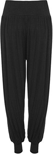 WearAll - Damen Übergröße Plain Haremshose Hosen - 7 Farben - Übergröße Größen 44-54 Schwarz