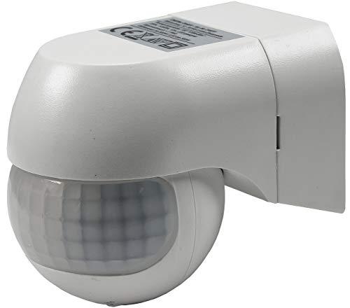 ChiliTec Bewegungsmelder 180° Bis 12m Reichweite für Innen Aussen IP44 LED Geeignet Ab 1 Watt Drehbar 3-Draht Weiß