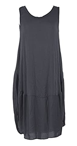 Ladies Womens Italian Lagenlook Quirky Sleeveless Cocoon Bottom Parachute Tunic Dress One Size (One Size, Dark Grey)