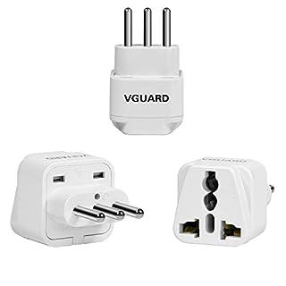 VGUARD [3 Stück] Reisestecker Schutzkontakt Adapter UK, EU, USA, Kanada, Asien, Japan, Hong Kong, China, Australien ect Travel Plug auf 3-Pin Italien Buchse - Weiß