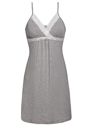 Spitze V-ausschnitt Nachthemd (Lusofie Damen Sexy Negligee V-Ausschnitt Nachtwäsche Kurz Sommer Nachthemd Spitze Nachtkleid(661 Grau, S))