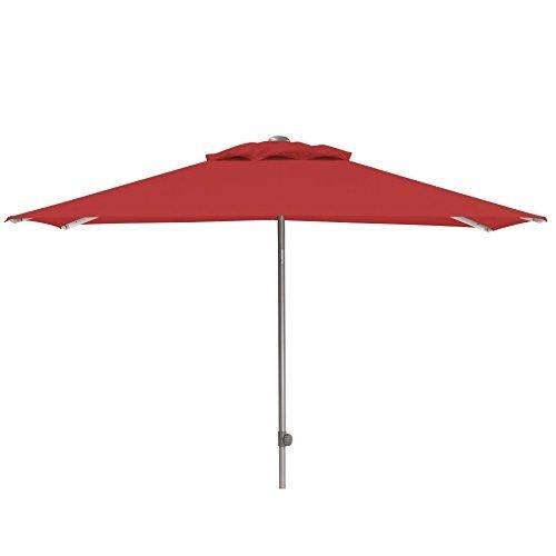 Kettler Easy Push Advantage Sonnenschirm 200 cm x 200 cm - wetterfester Gartenschirm - hochwertiges Aluminiumgestell & Bezug aus Polyester mit PU-Beschichtung - perfekt als Terrassenschirm - silber & rot