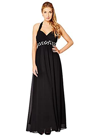 Fashion House Halter Neck Chiffon Empire Party Prom Evening Dress Black Size 12