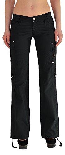 by-tex Damen Cargohose Damen Stoff Hose Damen Sommerhose Damen Caprihose in 4 Farben tiefer Bund Z43