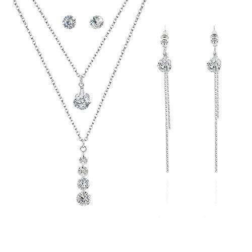 MSYOU Ohrringe Ohrstecker Halskette Set Mädchen Meteorit Anhänger Doppel Silber Sweater Kette Exquisite einfache lange Quaste Ohrringe -