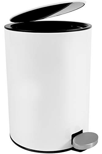 Bamodi Cubo de Basura con Pedal Premium Pequeñas papeleras de baño, Aseo u Oficina - 3L - Papelera...