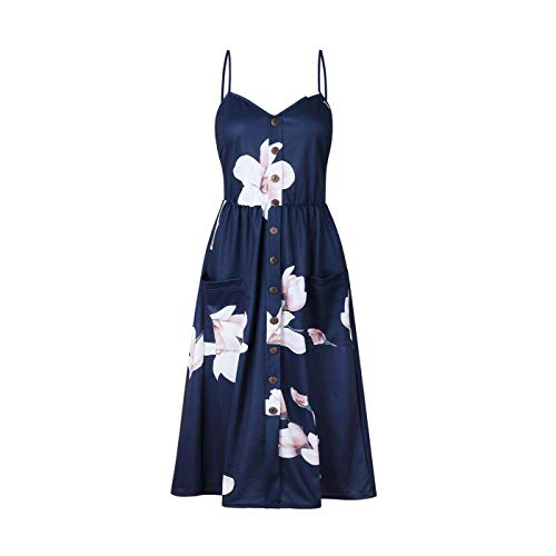 Tab Sleeve Plaid Shirt (PLOPYSE& Women's Dress Summer Boho Casual Long Maxi Evening Party Cocktail Beach Sundress 0860-Dark Blue S)