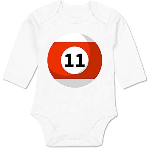 Shirtracer Karneval und Fasching Baby - Billardkugel 11 Kostüm - 12-18 Monate - Weiß - BZ30 - Baby Body ()
