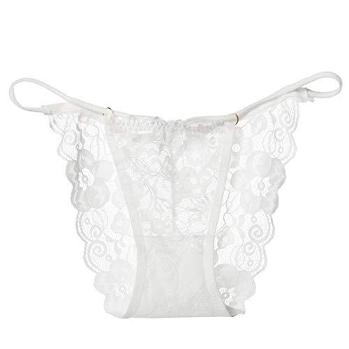 ❤Lace Splice Lingerie❤Lolittas Noir, Rouge, Bleu, Vert, Beige, Blanc, Violet Lingerie Femme Culotte G String Thongs Panties Underwear Briefs (Blanc)