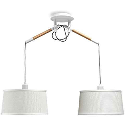 Mantra Igan - Lampara colgante 2 luces colección Nordica, madera natural y pantalla color blanco.