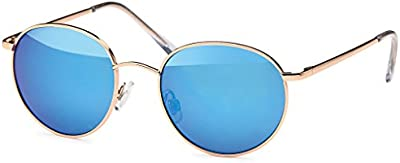 CHIC de Net gafas de sol redondo vasos John Lennon Style 400UV marco de metal Golden Efecto Espejo