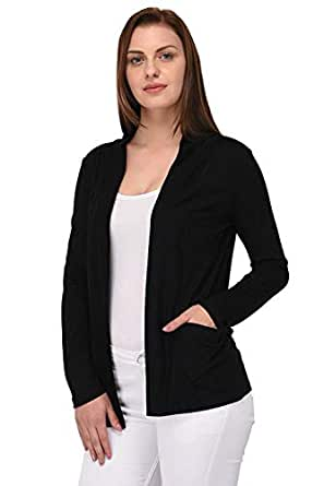 RED-X Women's Viscose Front Open Full Sleeve Shrug/Cardigan/Sweater/Jacket/Pullover/Hoodies (Small) Black