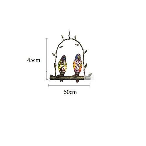 E14 Charakter Brille Glas Papagei Kronleuchter Restaurant Hotel Zimmer Decke Licht Home Dekor Art Vogel Pendelleuchte,2 Heads -