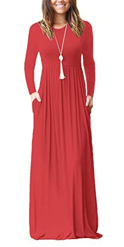 ZIOOER Damen Casual Lose Maxikleider Lange Ärmel Kleider Lange Kleid mit Taschen Rot XXL - Lange Ärmel, Eine Tasche