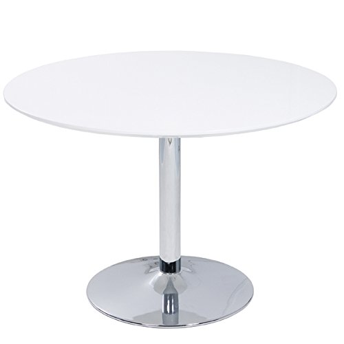 ESTO GmbH Tisch Lissabon Esszimmertisch Esstisch Hochglanz weiß verchromt Rund Ø 110 cm
