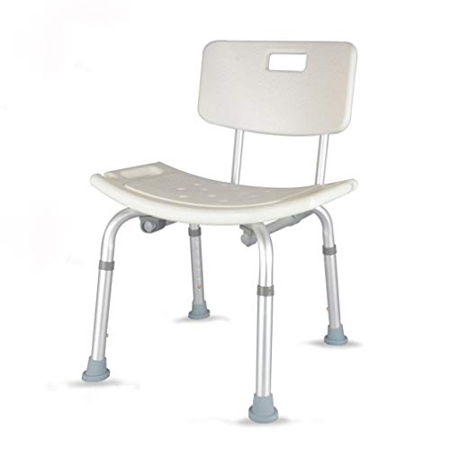 Kugga Deluxe-Badezimmer-Schemel-Stuhl mit Anti-Rutschgummi-Spitzen, Justierbarer Bad-Sitz mit Entfernbarer Rückseite -