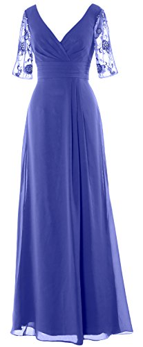 MACloth Women Half Sleeves Long Mother of the Bride Dress V Neck Formal Gown Horizon