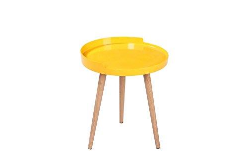 Maison du Design 'Table de café, table de Caffe Ares, plan : jaune, pieds : bois naturel