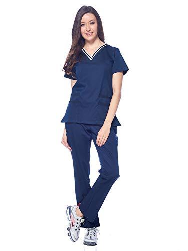 Dagacci Medical Uniform Damen-Peeling mit V-Ausschnitt, natürliches