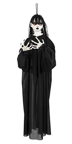 Knut Odegaard - Halloween Dekoration Hängedeko Horror Mädchen Girl Puppe Party, 1 Stück, 85cm, Schwarz (Friedhof Girl Halloween Kostüm)