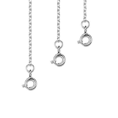 Amberta Echt 925 Sterling Silber - Verlängerungskette für Damen - Panzerkette 2 mm - Verarbeitet um Ihre Colliers und Armband zu Verlängern - Länge : 25, 50 und 100 mm