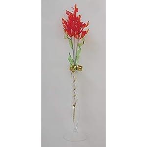 Glasblume tolle Blume aus blutorange-1 mit Vase Qualität