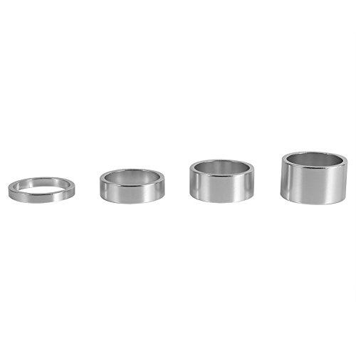Bike Vorne Vorbau Headset Spacer, 5mm/10mm/15mm/20mm Aluminium Legierung Headset Spacer Gabel Waschmaschine 4/Set, Silber -