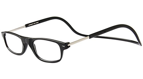 Tboc occhiali da vista lettura presbiopia - graduati +1.00 diottrie montatura nera regolabili pieghevoli leggeri chiusura clip magnetici vicino computer donna uomo stanghette appendere collo
