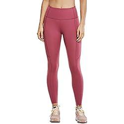 CRZ YOGA Mujer Naked Feeling Leggings Deportivas Cintura Alta Yoga Fitness Pantalones Con Bolsillo Misty Merlot New2 XS(36)