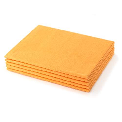 Eden® - VORTEILSPACK BODENWISCHTÜCHER orange 5er Pack - Universell einsetzbar und häufig wiederverwendbar. Super saugstark, reinigt streifenfrei und ist sehr strapazierfähig. Für alle Böden geeignet