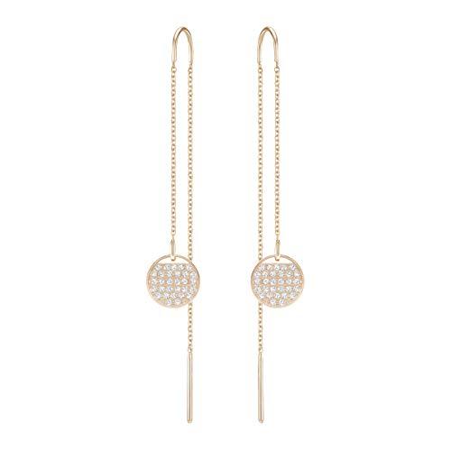 Swarovski orecchini ginger chain, cristallo bianco, placcati nella tonalità oro rosa, da donna