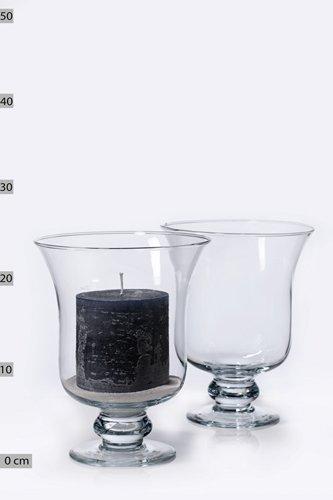 INNA Glas Set 2 x Blumenvase Glas Tiffany auf Standfuß, Sanduhr/rund, klar, 24cm, Ø18cm - Vase mit Fuß/Tischvase - Tiffany-glas-vase