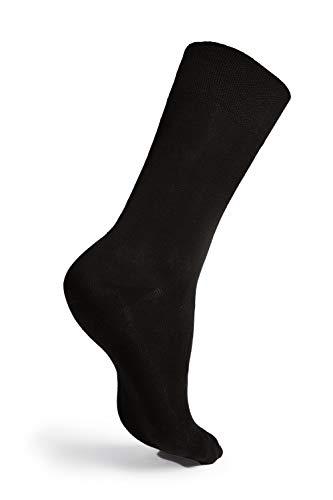 ArnsteiN Premium 6 Paar schwarze/farbige Herrensocken-Größen 39-46-klassische Socken Freizeit/Arbeit-Damen Herre-Öko Tex 100 zertifiziert-hochwertige Baumwolle ohne Gummi (schwarz, 39-42) -